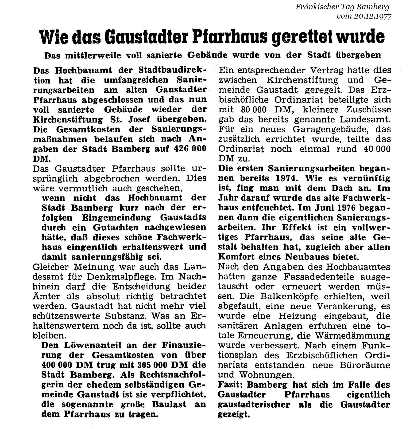 Wie das Gaustadter Pfarrhaus gerettet wurde 1977