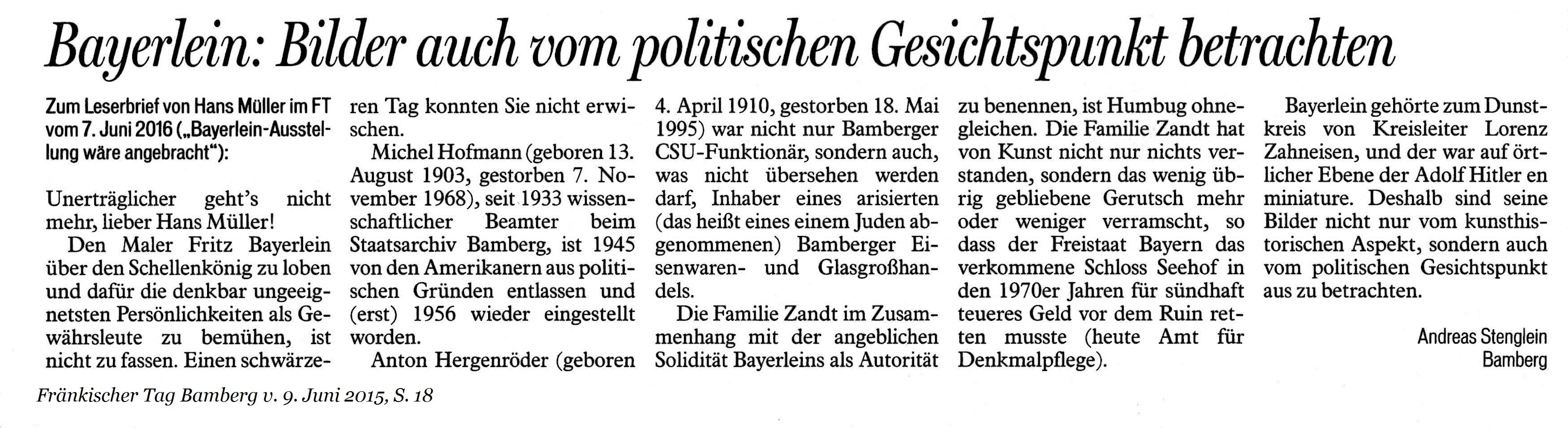 Bayerlein: Bilder auch vom politischen Geischtspunkt betrachten