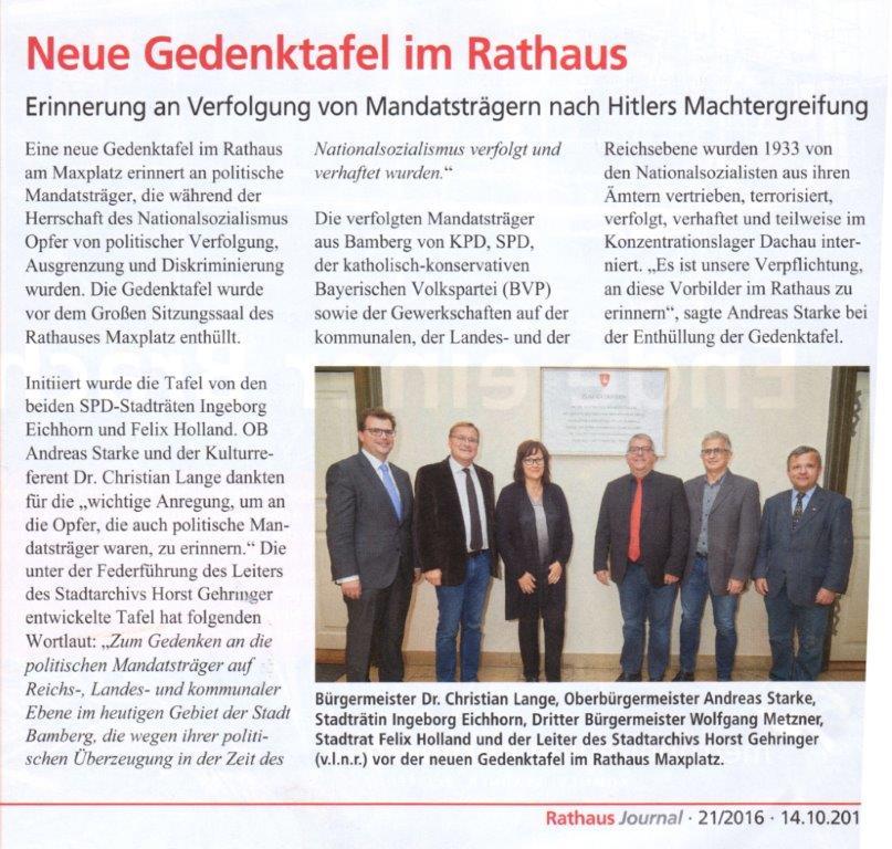 Neue Gedenktafel im Rathaus Journal